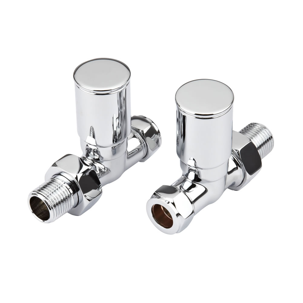 Milano - Modern Chrome Straight Radiator Valves - Straight