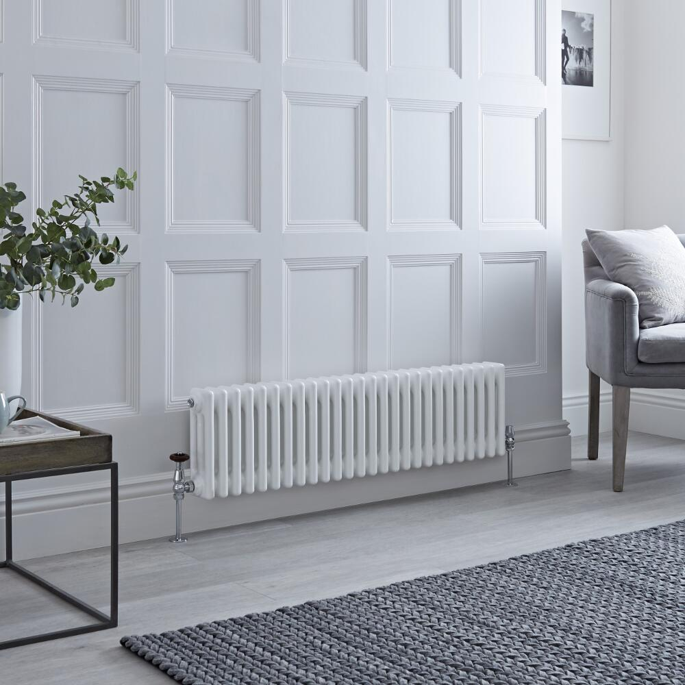 Milano Windsor - Traditional 3 Column Radiator - Cast Iron Style - White - 300mm x 1193mm