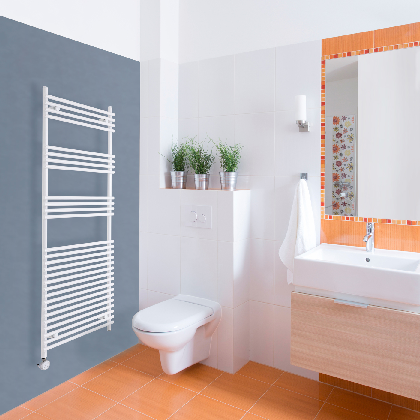 Kudox Harrogate Electric - White Flat Bar on Bar Heated Towel Rail - 1650mm x 600mm