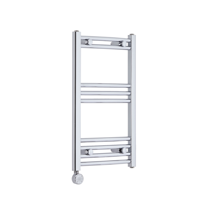 Milano Ribble Electric - Curved Chrome Heated Towel Rail 700mm x 400mm