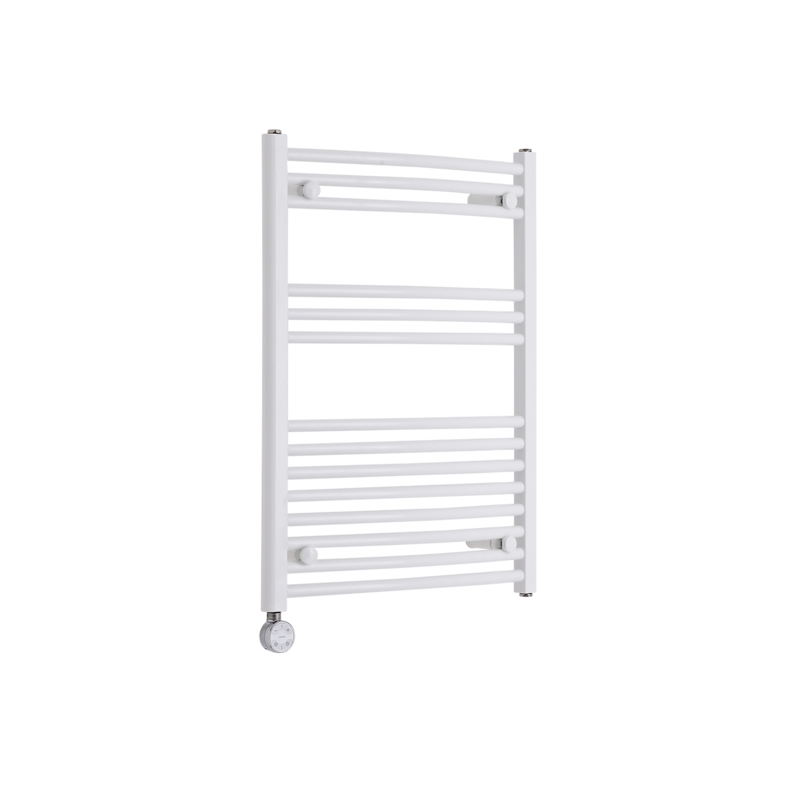 Milano Calder Electric - Curved White Heated Towel Rail 800mm x 600mm