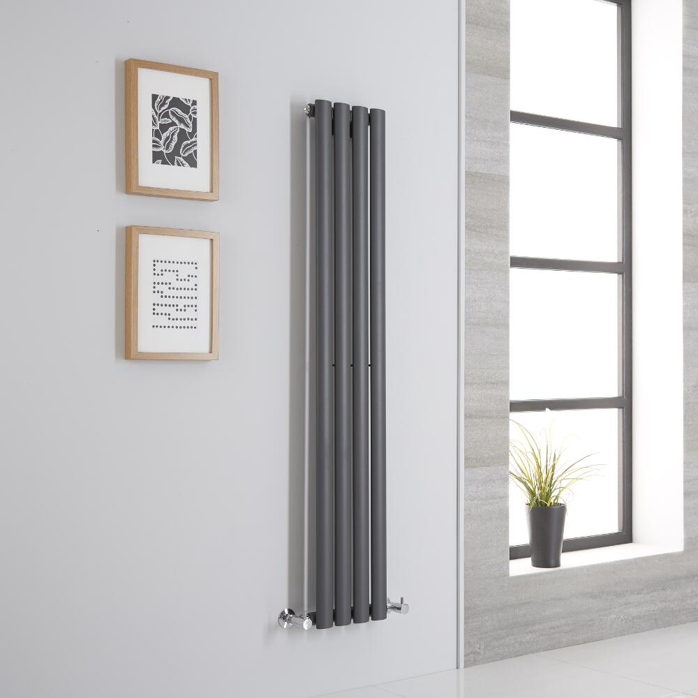 Milano Aruba - Anthracite Space-Saving Vertical Designer Radiator 1400mm x 236mm (Single Panel)