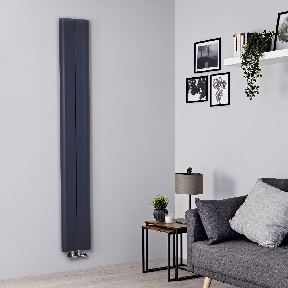 Milano Solis - Anthracite Vertical Aluminium Designer Radiator 1800mm x 245mm