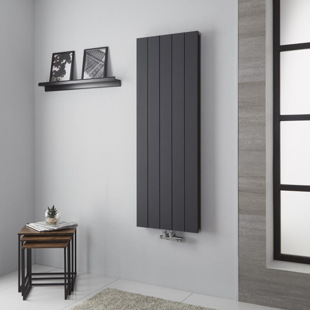 Milano Kit - Aluminium Double Radiator Anthracite - 1400mm x 470mm