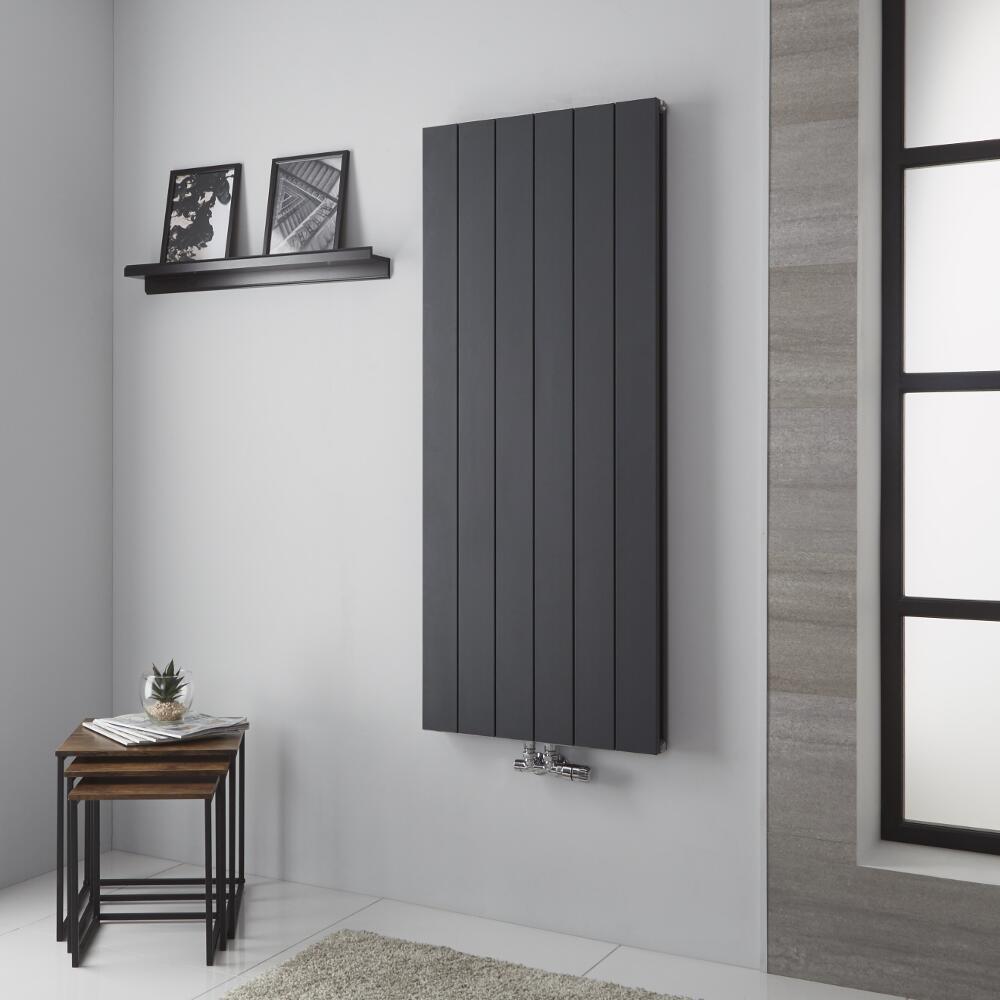 Milano Kit - Anthracite Vertical Aluminium Designer Radiator 1400mm x 565mm (Double Panel)