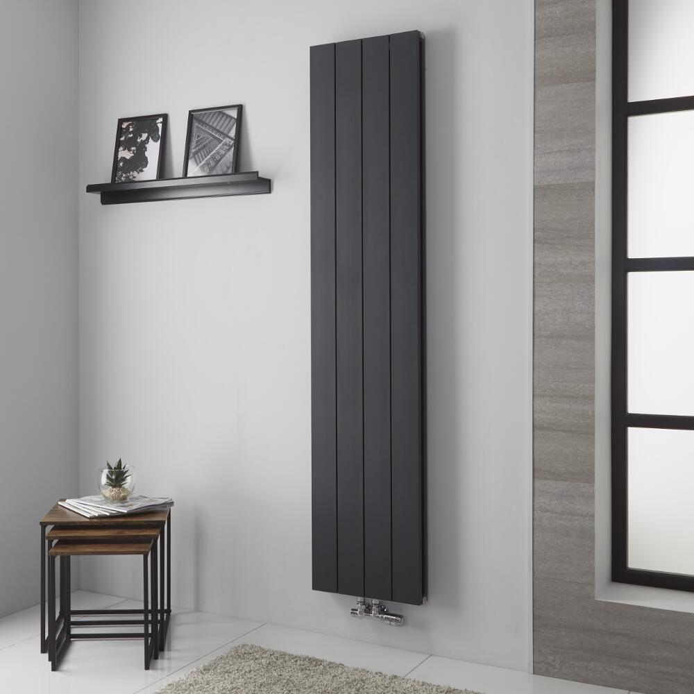 Milano Kit - Anthracite Vertical Aluminium Designer Radiator 1800mm x 375mm (Double Panel)