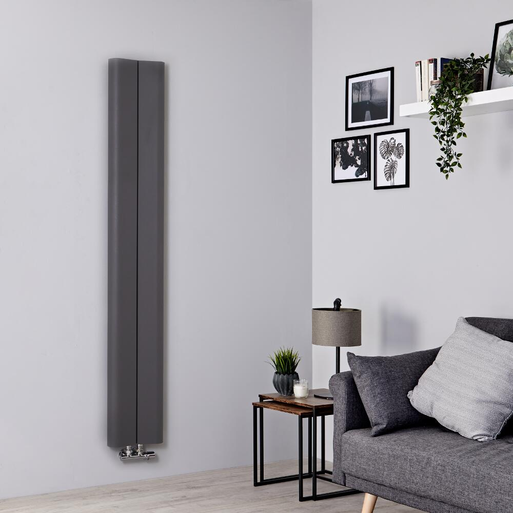 Milano Solis - Light Grey Vertical Aluminium Designer Radiator 1600mm x 245mm