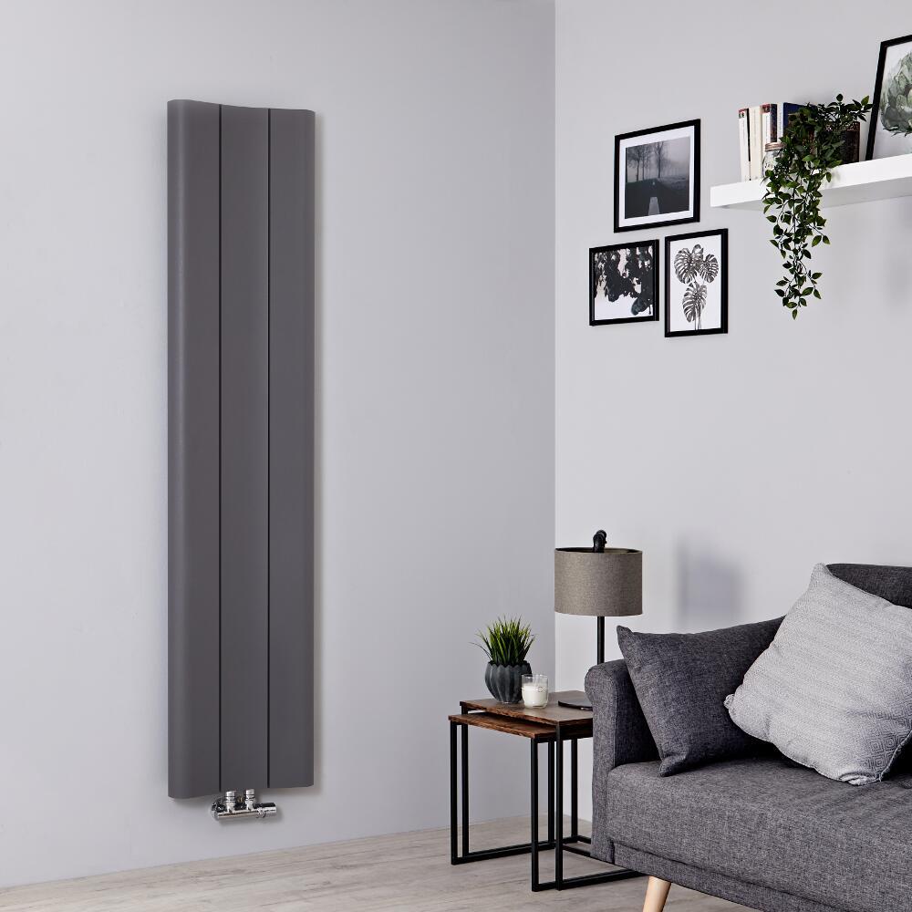 Milano Solis - Light Grey Vertical Aluminium Designer Radiator 1600mm x 370mm