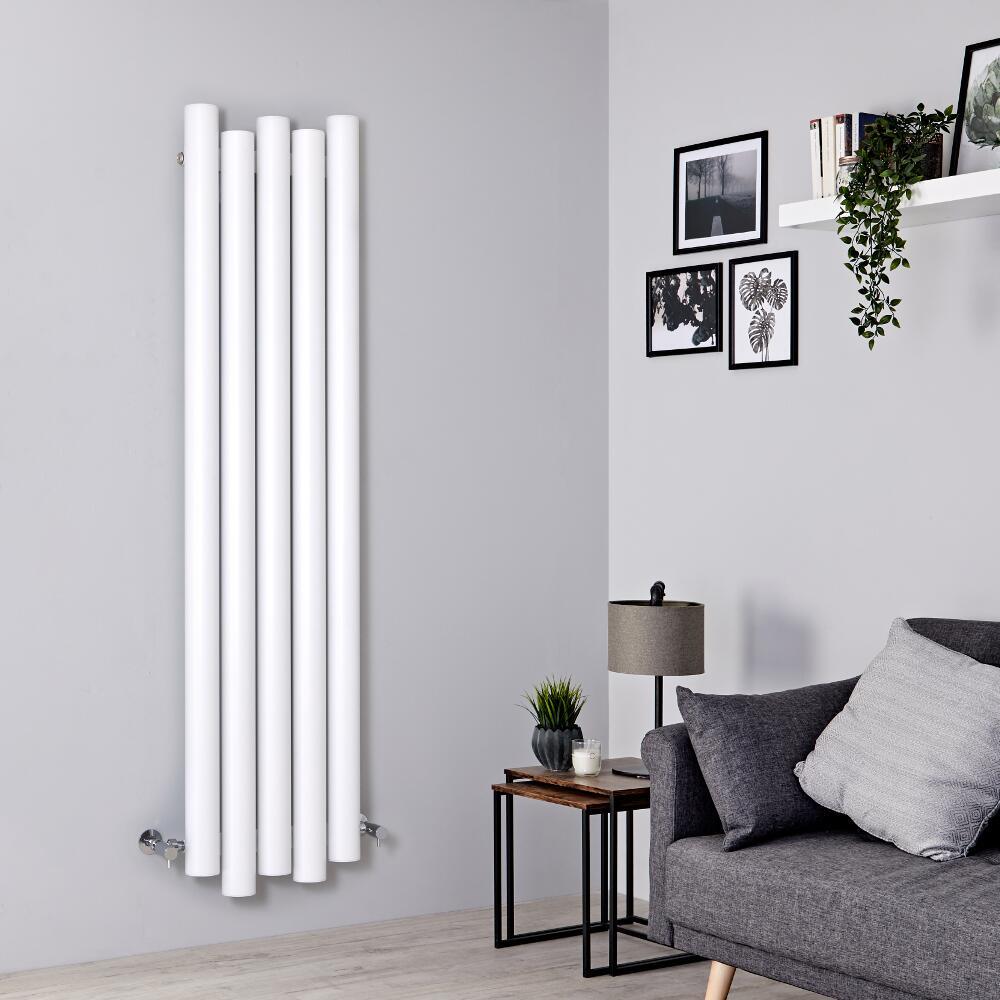 Milano Motus - White Vertical Aluminium Designer Radiator 1600mm x 390mm
