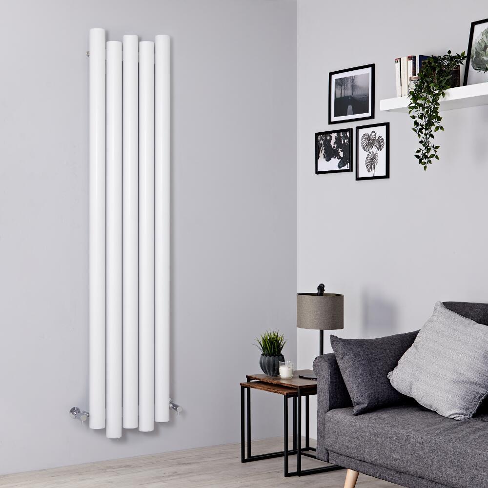 Milano Motus - White Vertical Aluminium Designer Radiator 1800mm x 390mm