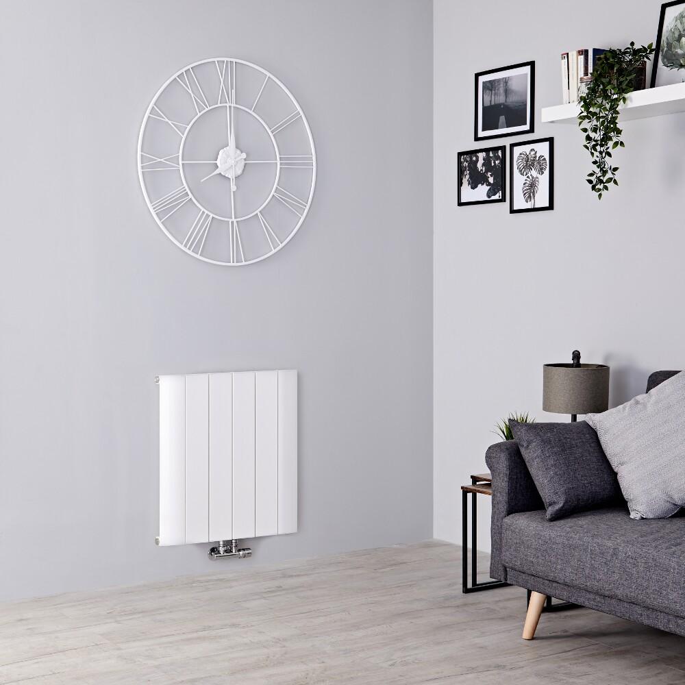 Milano Skye - Aluminium White Horizontal Designer Radiator 600mm x 565mm