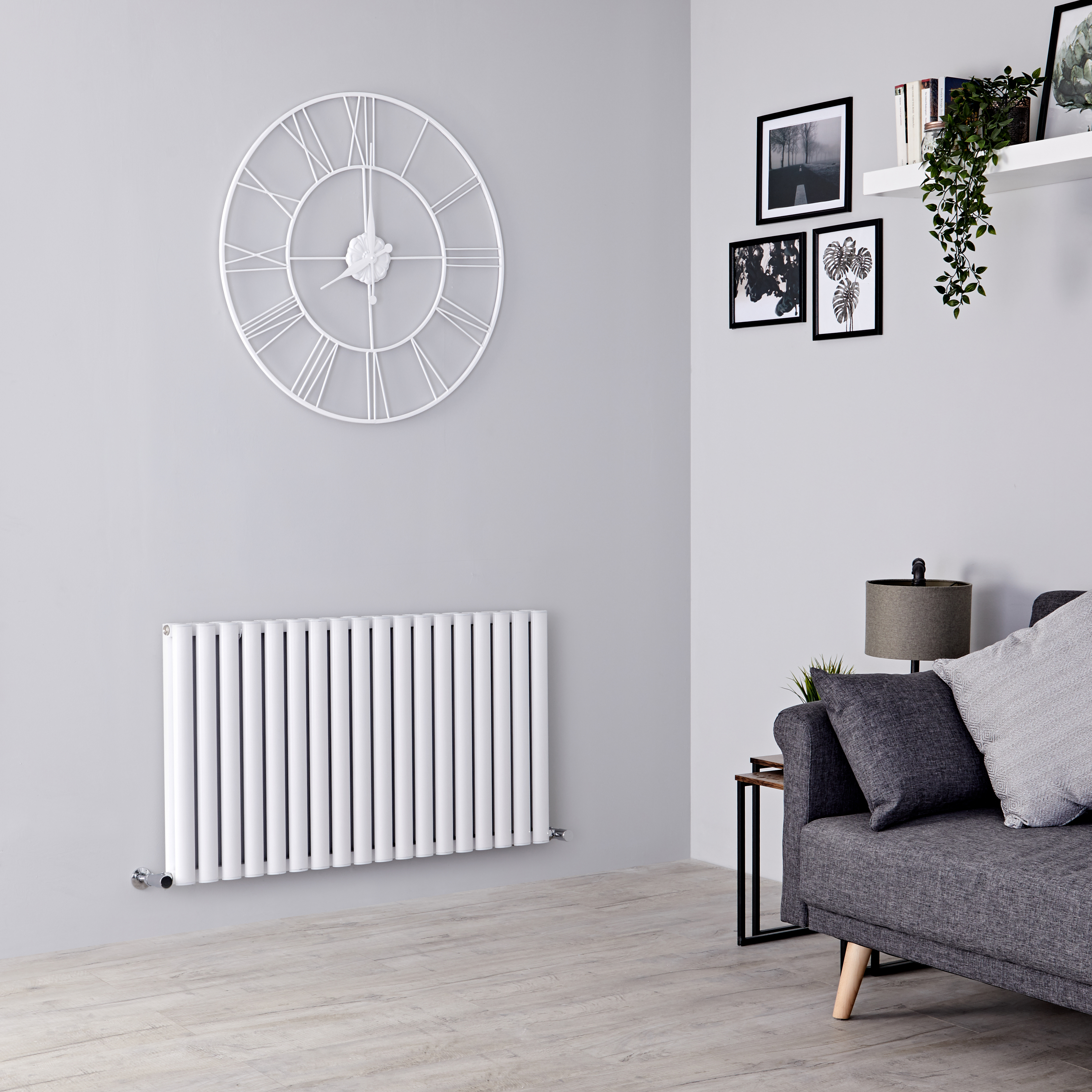 Milano Aruba Ayre - Aluminium White Horizontal Designer Radiator 600mm x 1070mm (Double Panel)