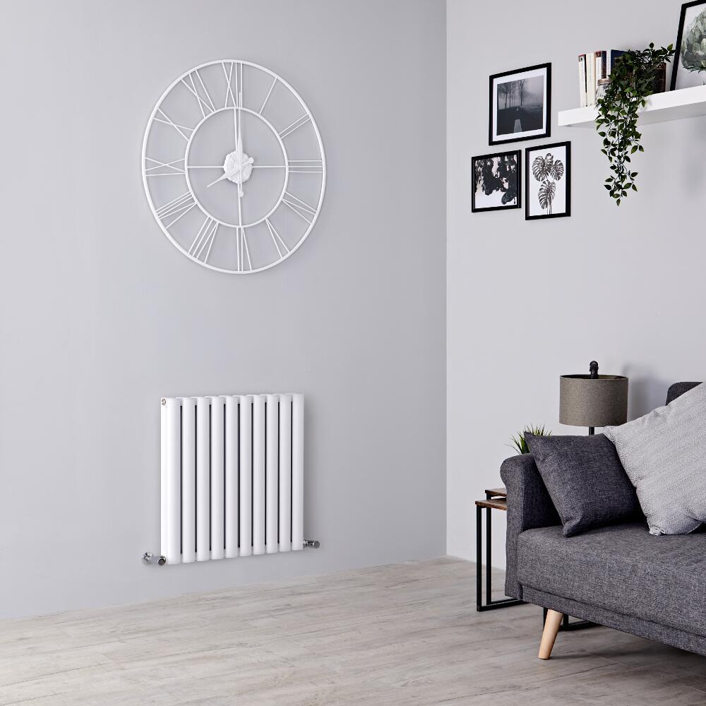 Milano Aruba Ayre - Aluminium White Horizontal Designer Radiator 600mm x 590mm (Double Panel)