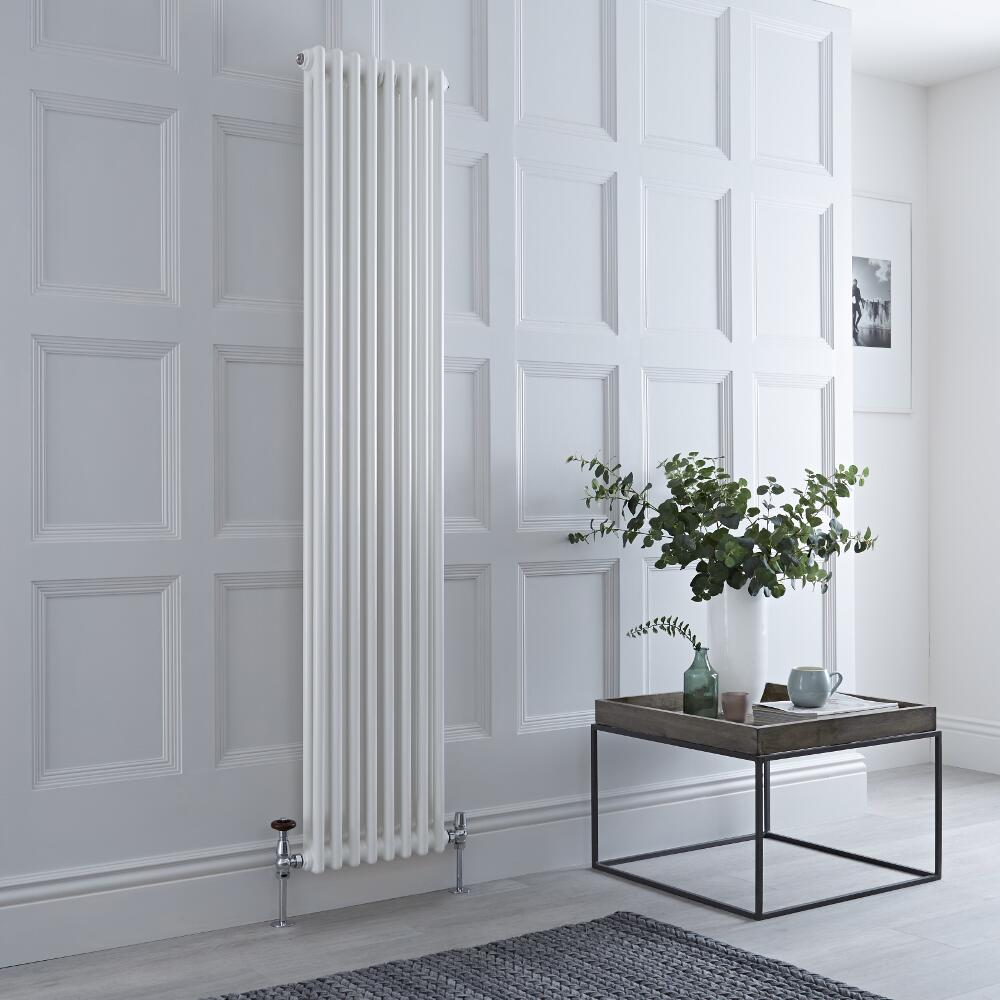 Milano Windsor - Vertical Double Column White Traditional Cast Iron Style Radiator - 1800mm x 380mm