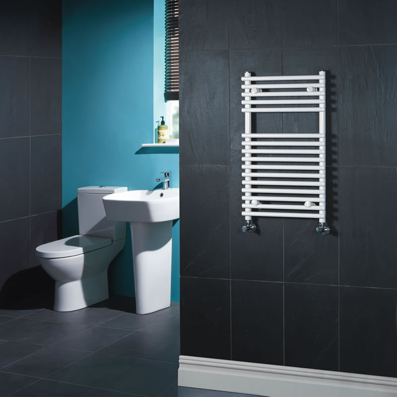 Kudox - Flat White Bar on Bar Heated Towel Rail 750mm x 450mm