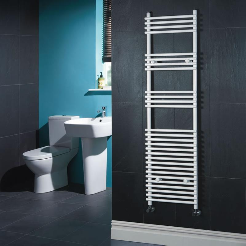 Kudox Harrogate - White Flat Bar on Bar Heated Towel Rail - 1650mm x 450mm