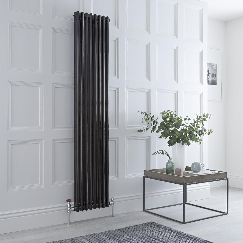 Milano Windsor - Vertical Double Column Black Traditional Cast Iron Style Radiator - 1800mm x 380mm