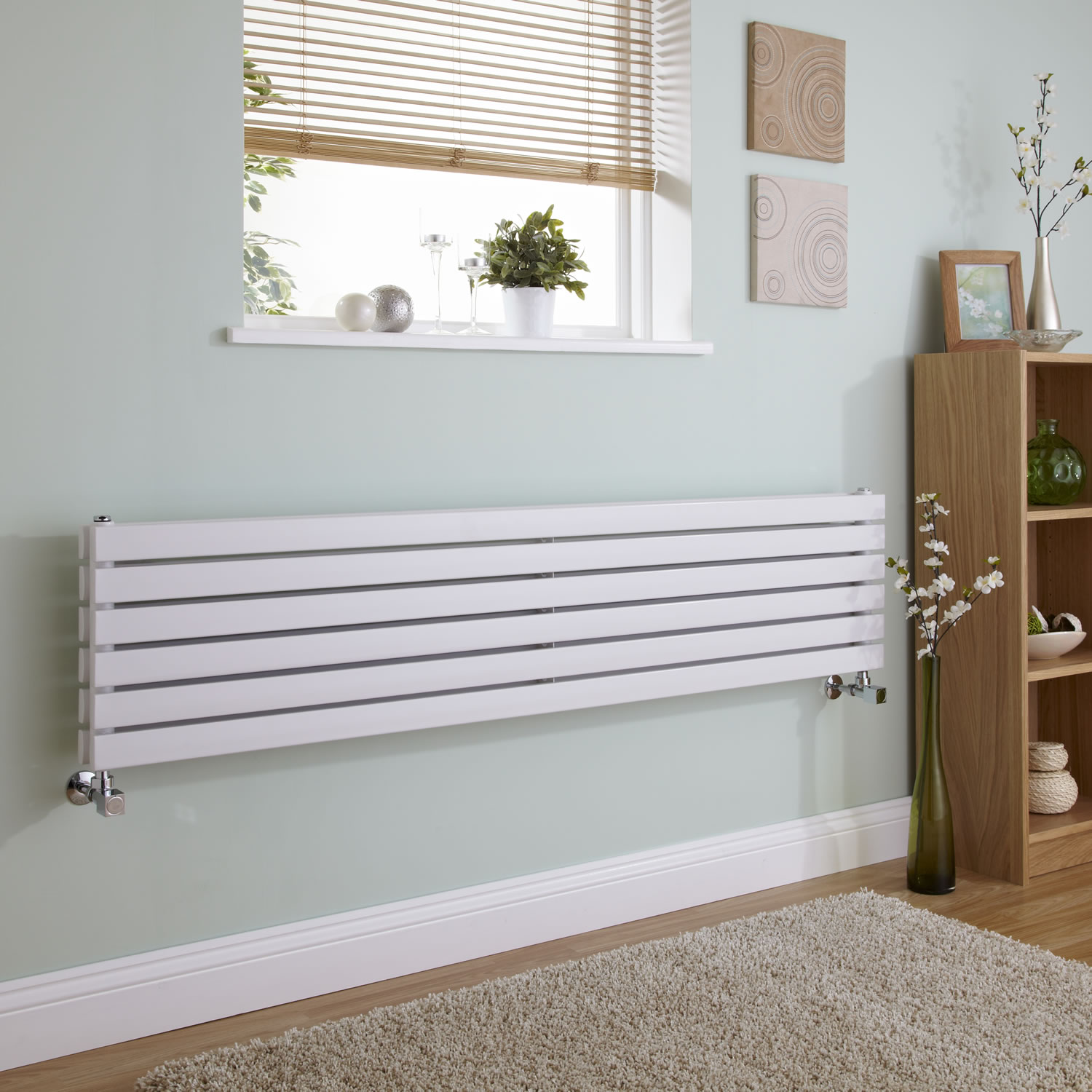 Milano Capri - White Flat Horizontal Designer Radiator 354mm x 1600mm(Double Panel)