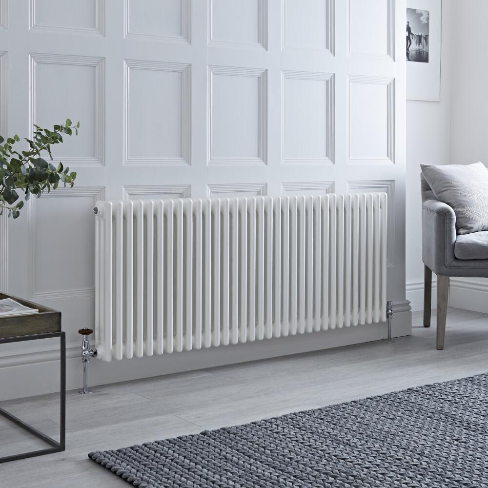 Milano Windsor - Horizontal Triple Column White Traditional Cast Iron Style Radiator - 600mm x 1505mm