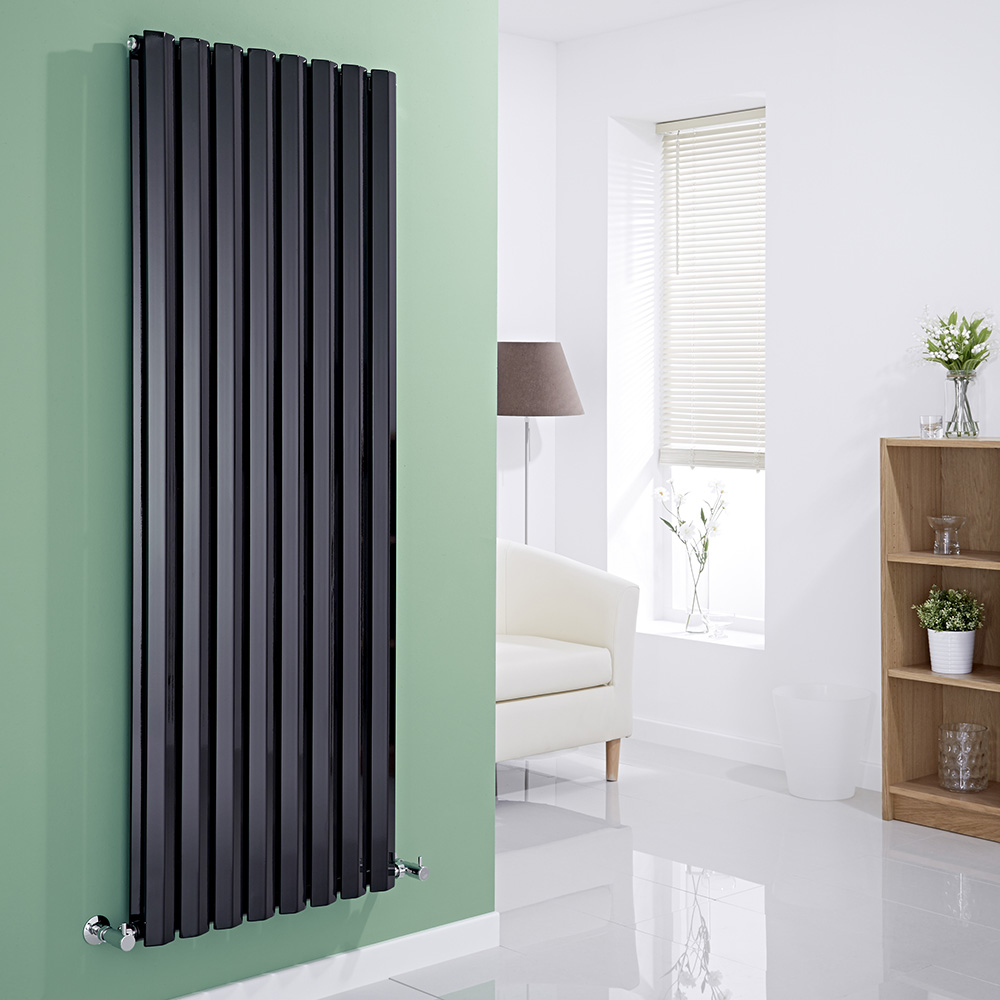 Milano Viti - Black Vertical Diamond Double Panel Designer Radiator 1600mm x 560mm