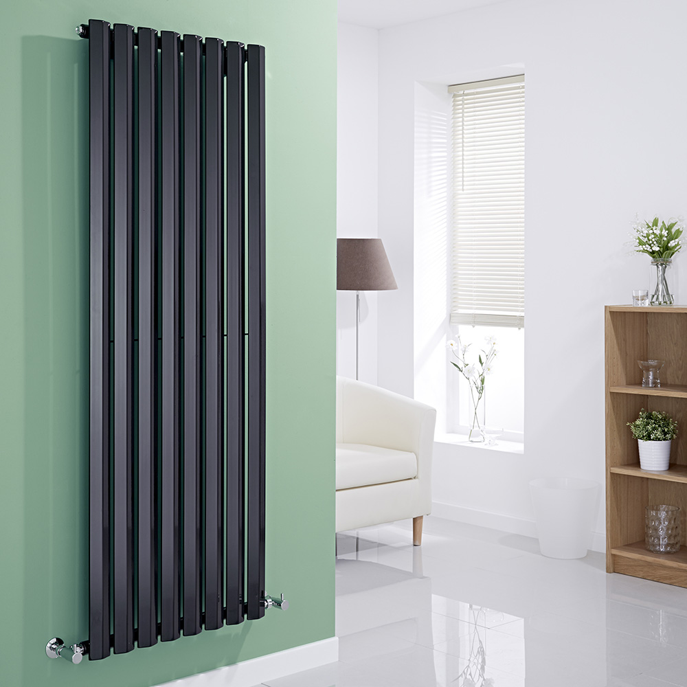 Milano Viti - Black Vertical Diamond Panel Designer Radiator 1600mm x 560mm