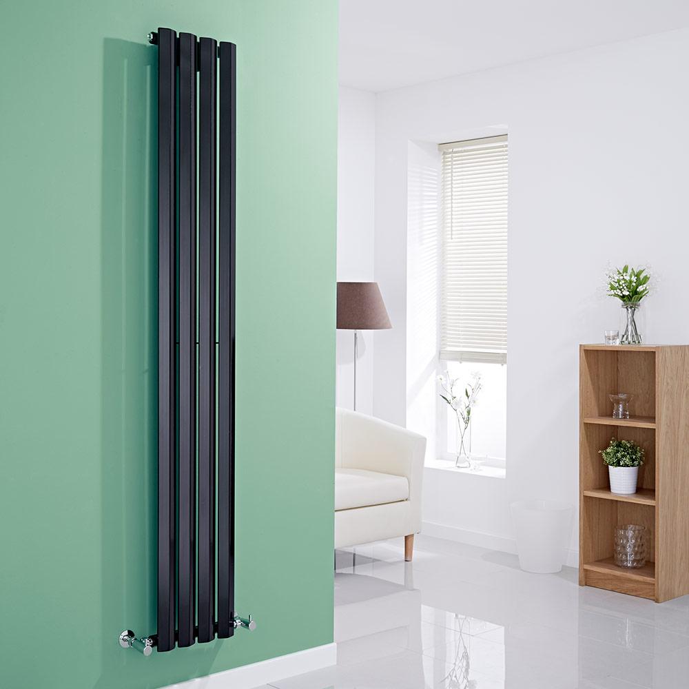 Milano Viti - Black Vertical Diamond Panel Designer Radiator 1780mm x 280mm