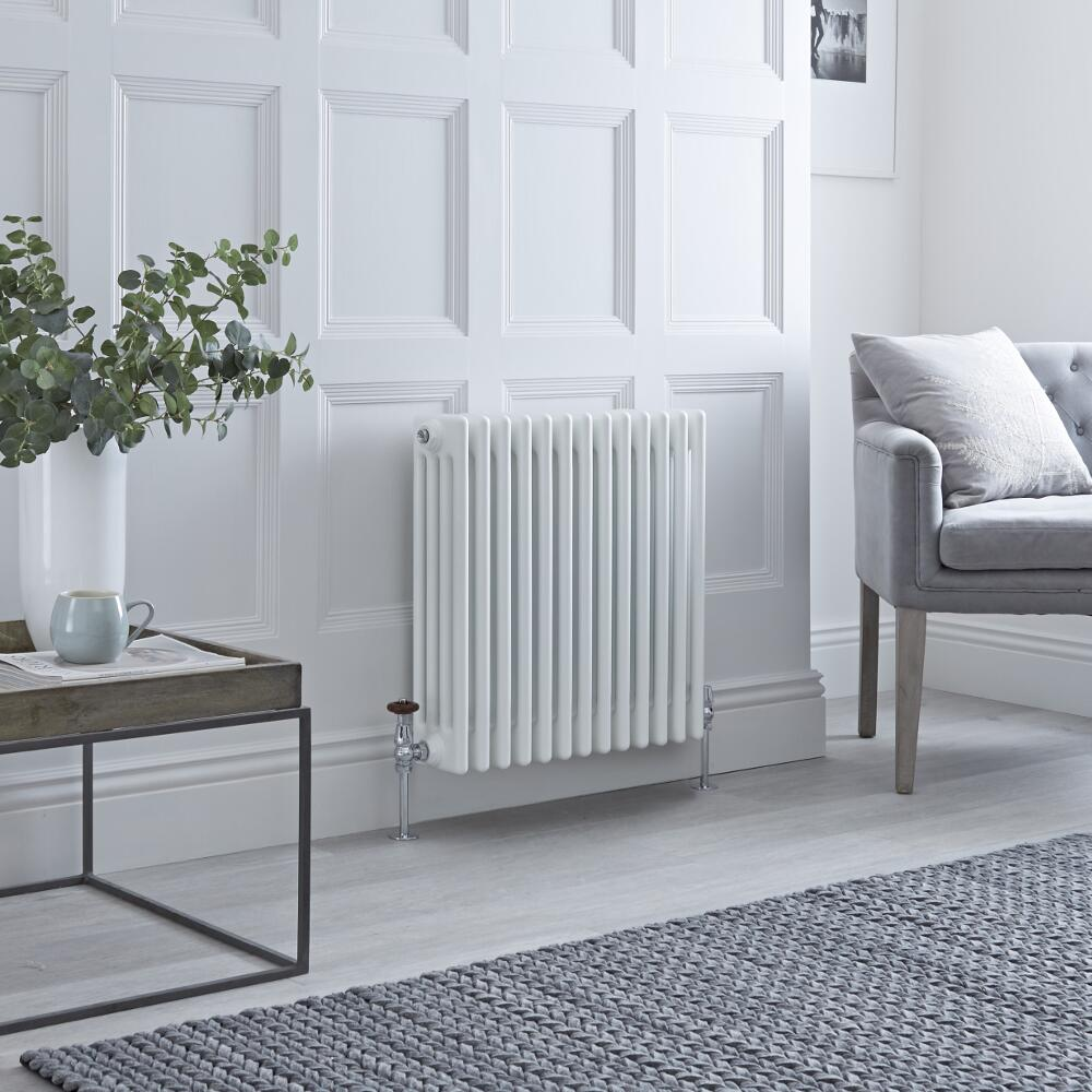 Milano Windsor - Horizontal Four Column White Traditional Cast Iron Style Radiator - 600mm x 605mm