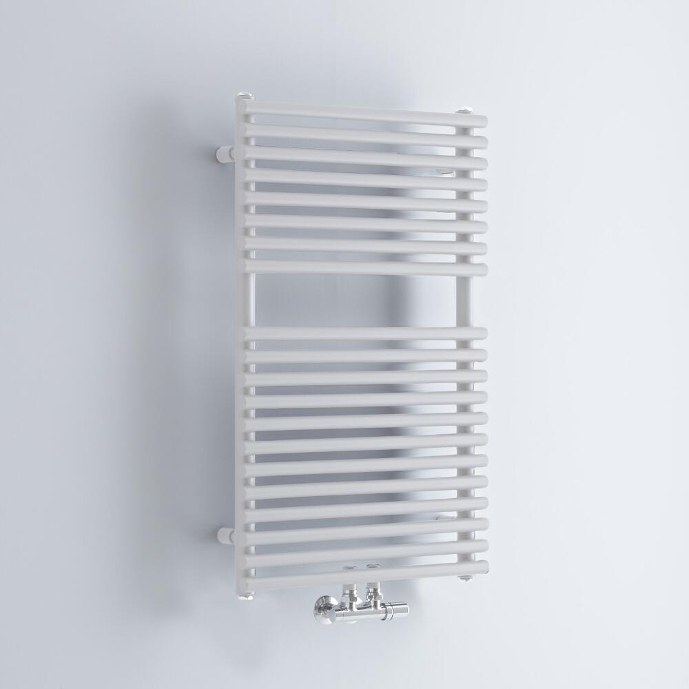 Milano Via - White Bar on Bar Central Connection Heated Towel Rail 837mm x 500mm