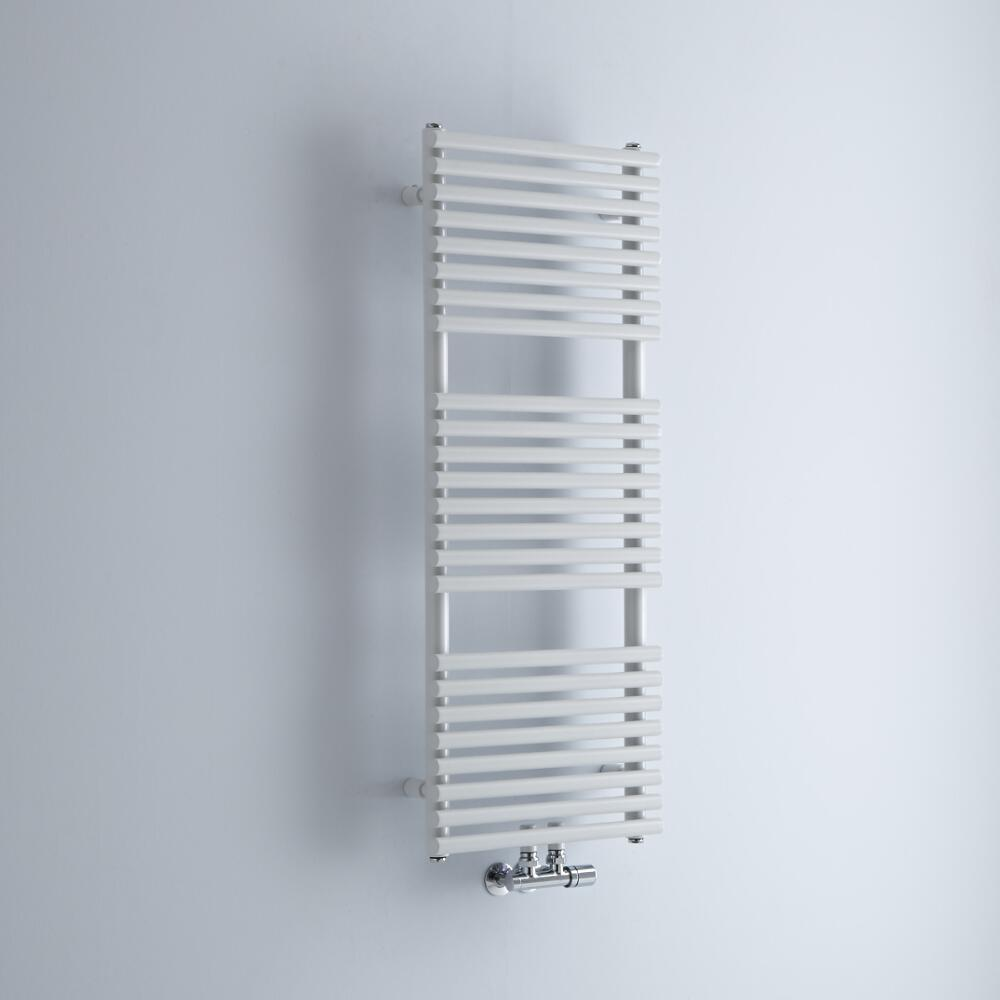 Milano Via - White Bar on Bar Central Connection Heated Towel Rail 1065mm x 400mm
