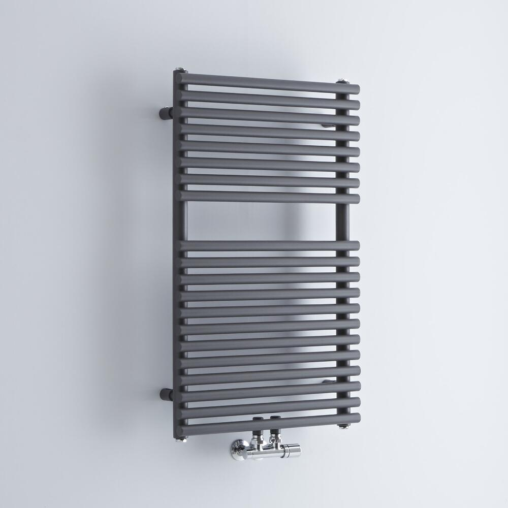 Milano Via - Anthracite Bar on Bar Central Connection Heated Towel Rail 837mm x 500mm