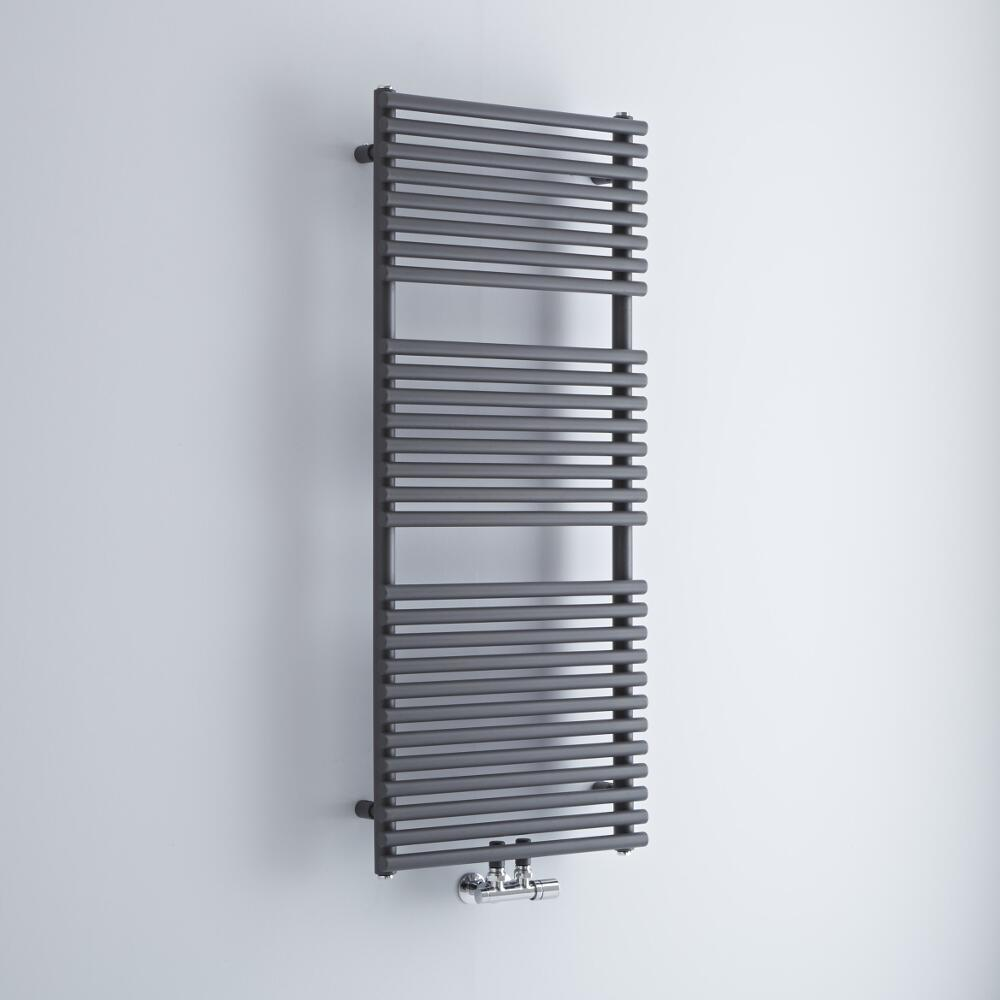 Milano Via - Anthracite Bar on Bar Central Connection Heated Towel Rail 1215mm x 500mm