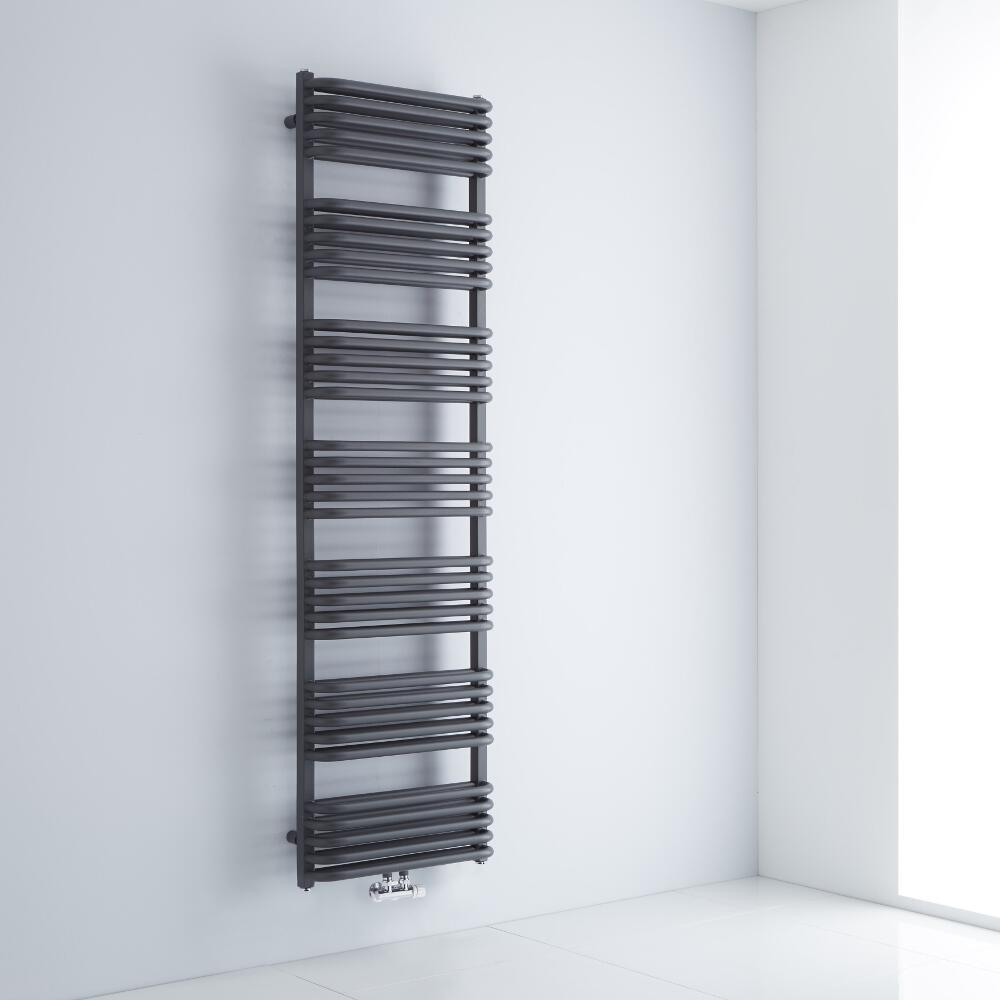 Milano Bow - Anthracite D Bar Central Connection Heated Towel Rail 1800mm x 500mm