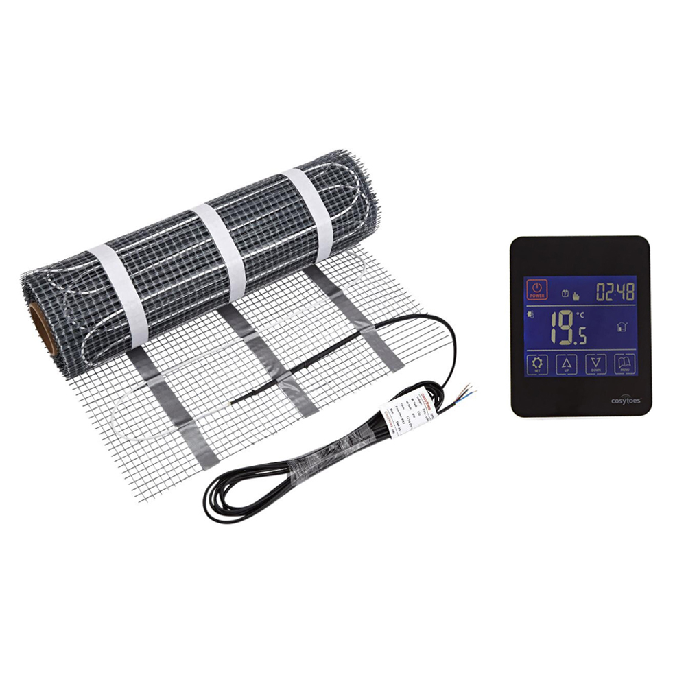Cosy Toes - Electric Underfloor Heating Mat & Black Gloss Touchscreen Thermostat - Various Mat Sizes