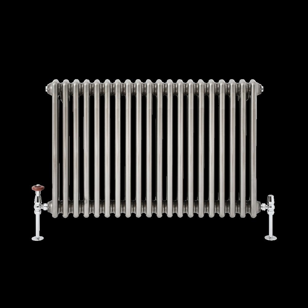 ELEGANT 600 x 1010mm Cast Iron Style 3 Column Grey Radiators Traditional Horizontal Triple Bar Colosseum Anthracite Designer Rads with Valves Chrome