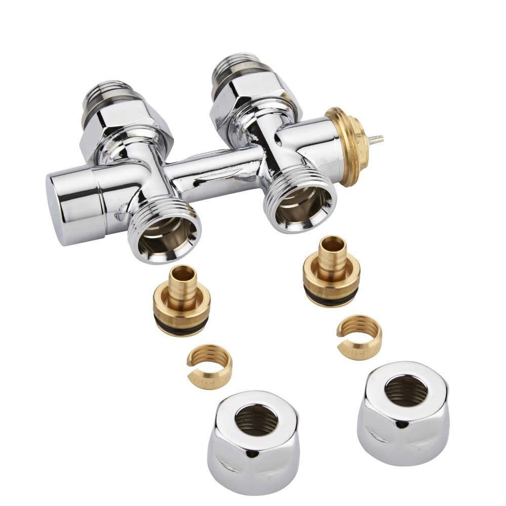 Milano - Chrome Thermostatic H-Block Straight Radiator Valves - 12mm Pex  Euro Cone Adapters