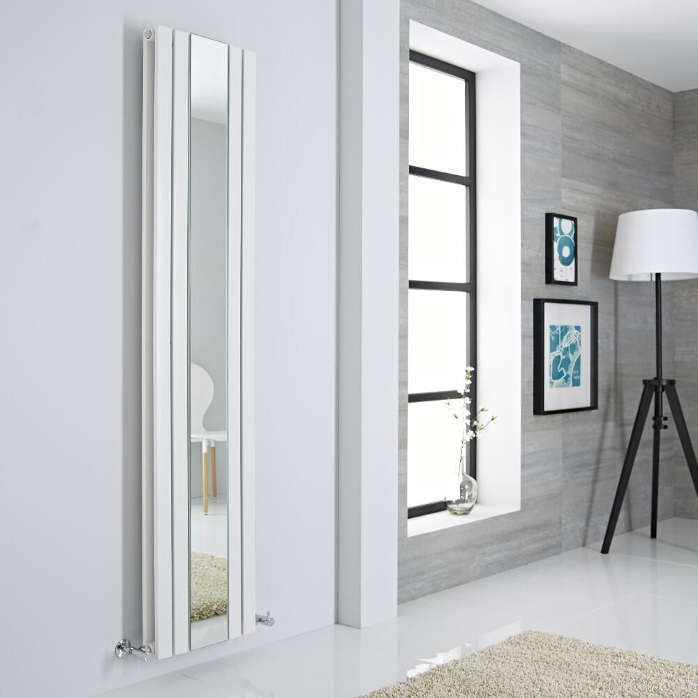 Milano icon white vertical mirrored designer radiator for Designer a milano