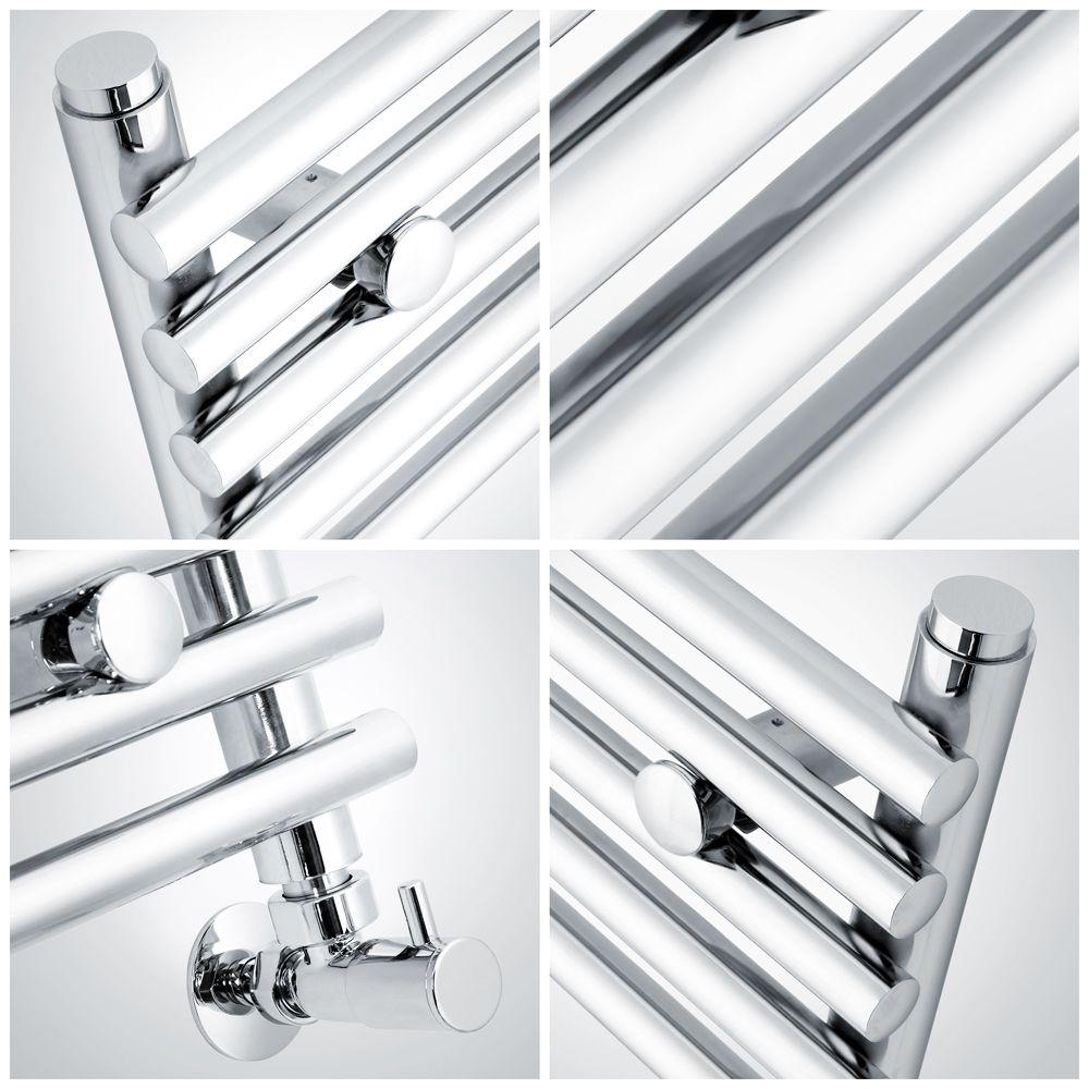Kudox Harrogate - Chrome Flat Bar on Bar Heated Towel Rail ...
