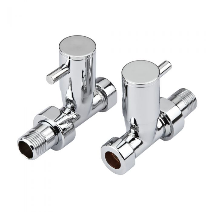 Milano - Minimalist Chrome Straight Radiator Valves (Pair)