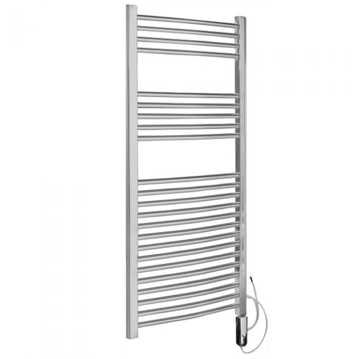 Kudox - Chrome Curved Thermostatic Electric Towel Rail 1200mm x 600mm