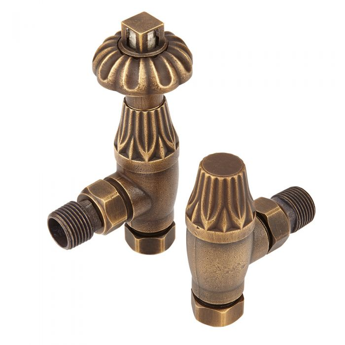 Milano - Antique Style Bronze Thermostatic Angled Radiator Valves (Pair)