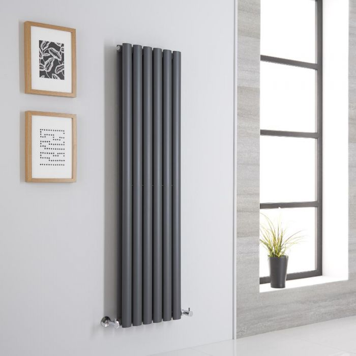 Milano Aruba Aiko - Anthracite Space-Saving Vertical Designer Radiator 1400mm x 354mm (Double Panel)