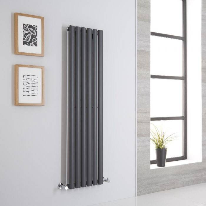 Milano Aruba Aiko - Anthracite Space-Saving Vertical Designer Radiator 1400mm x 354mm (Single Panel)