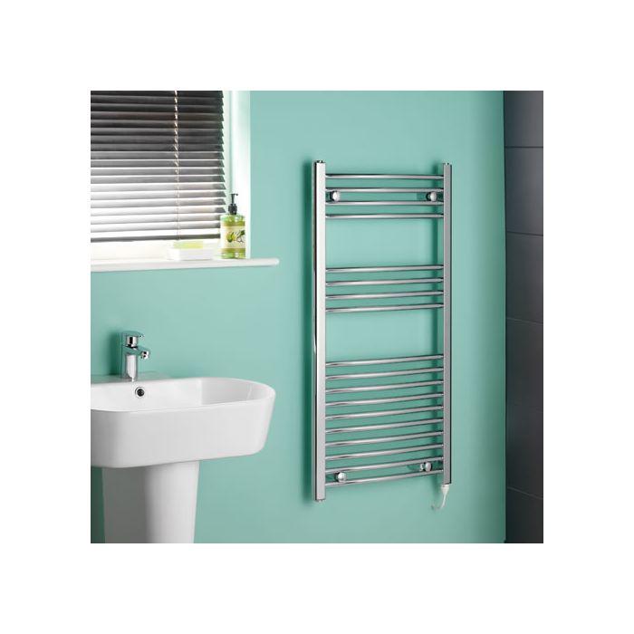 Kudox Ladder Electric - Chrome Curved Standard Heated Towel Rail - 1000mm x 500mm