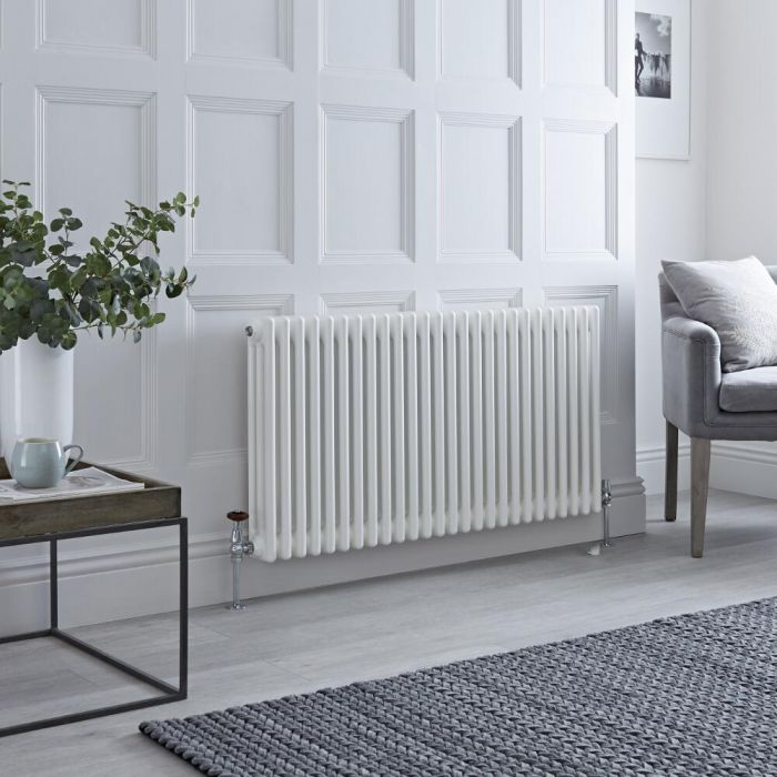 Milano Windsor - Horizontal Triple Column White Traditional Cast Iron Style Radiator - 600mm x 1190mm