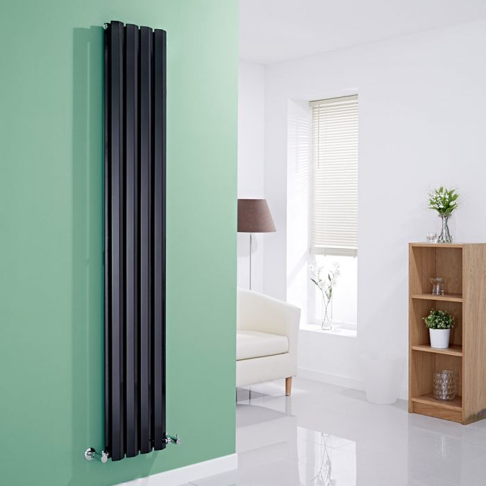 Milano Viti - Black Vertical Diamond Double Panel Designer Radiator 1780mm x 280mm