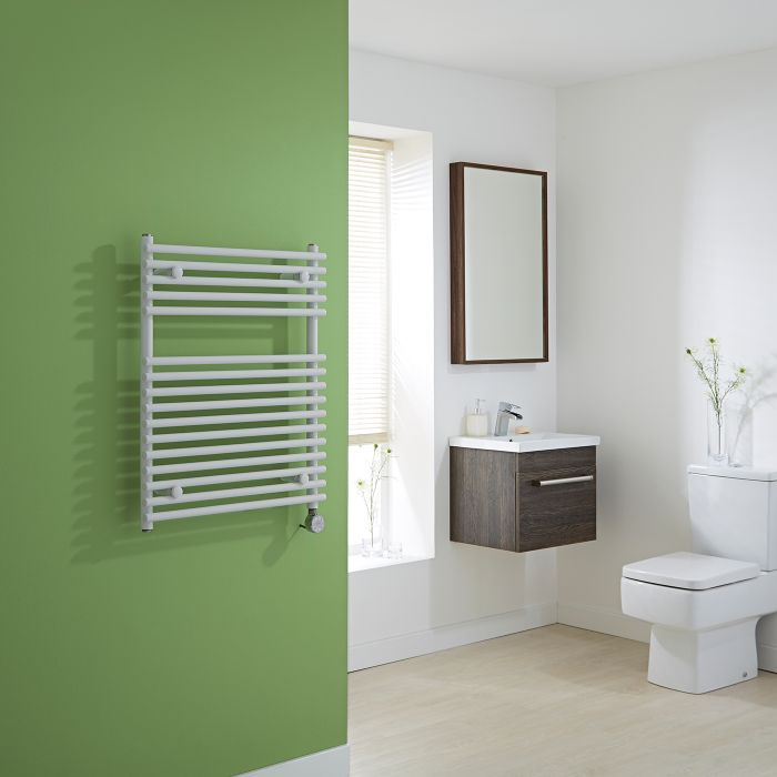 Kudox Harrogate Electric - White Flat Bar on Bar Heated Towel Rail - 750mm x 600mm