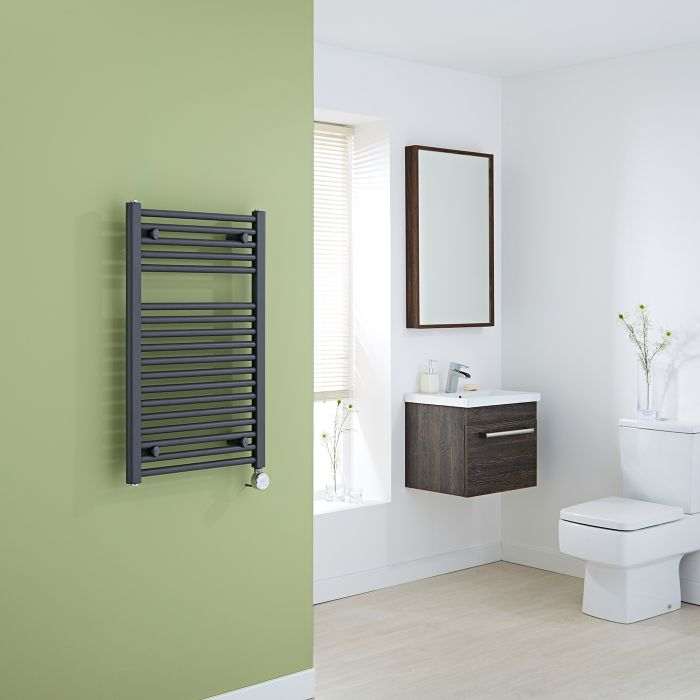 Milano Brook Electric - Anthracite Flat Heated Towel Rail 800mm x 500mm