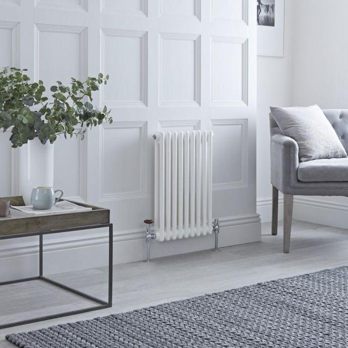 Milano Windsor - Horizontal Double Column White Traditional Cast Iron Style Radiator - 600mm x 425mm