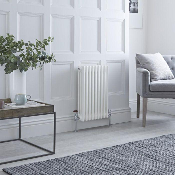 Milano Windsor - Horizontal Triple Column White Traditional Cast Iron Style Radiator - 600mm x 425mm