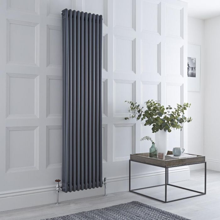 Milano Windsor - Vertical Triple Column Anthracite Traditional Cast Iron Style Radiator - 1800mm x 470mm